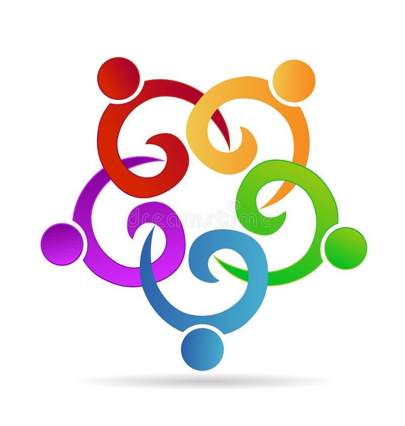 Prac zespołowych ludzie trzyma ręki w biznesu, spotkania, przyjęcia lub jedności dzieci pojęcia symboli/lów wektoru ikonach, royalty ilustracja