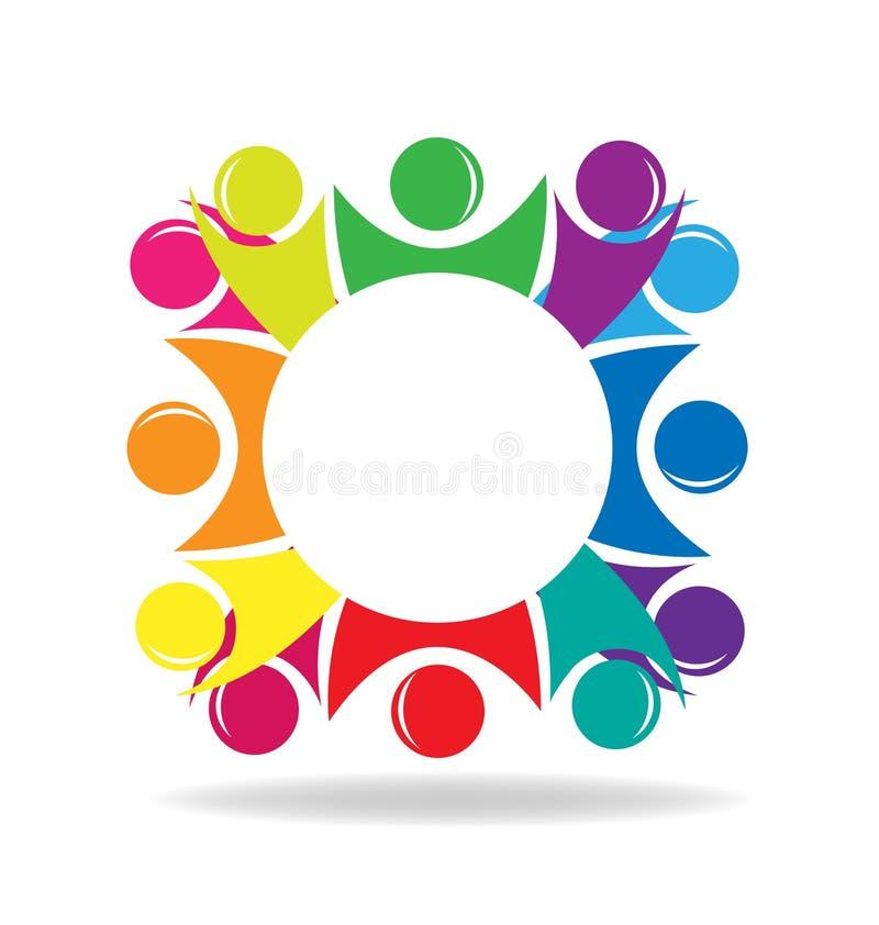 Prac zespołowych ludzie w okrąg grupie, dyskusja wektoru ikona ilustracji