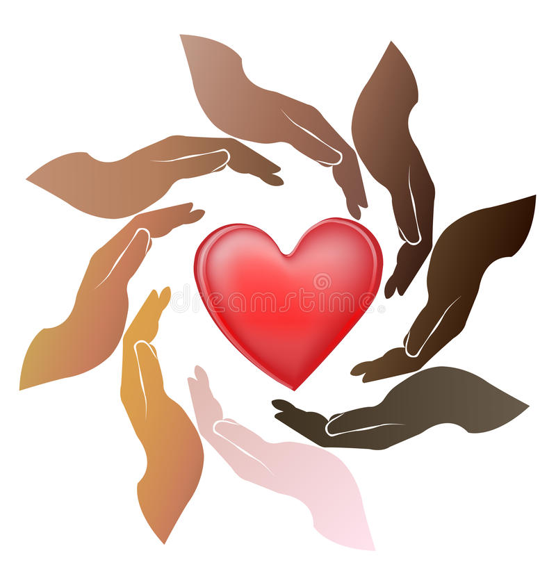Prac zespołowych ręki dbają serce ilustracja wektor