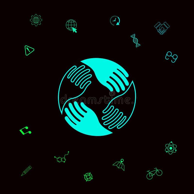 Prac zespołowych ręki Ludzki podłączeniowy logo Graficzni elementy dla twój designt royalty ilustracja