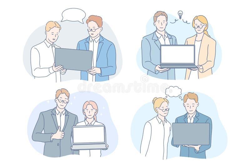 Praca, burza mózgów, praca zespołowa, idea, koncepcja zestawu biznesowego ilustracja wektor