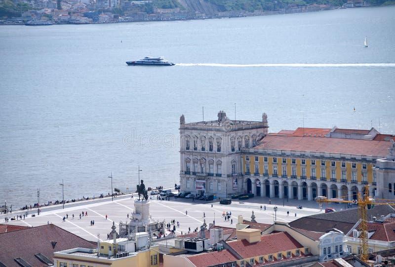 Praca Comercio ( 商务square)在里斯本, 免版税库存图片