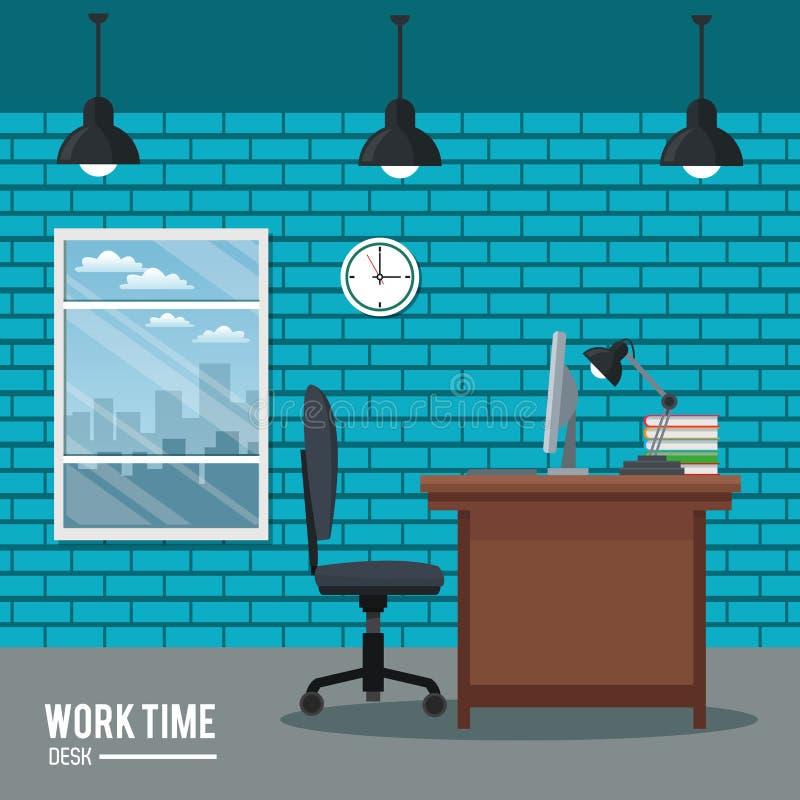 Praca czasu biurka zegaru krzesła laptopu okno ściana z cegieł ilustracji