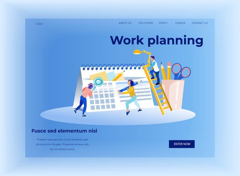 Praca czasu i planowania zarządzania lądowania strona royalty ilustracja