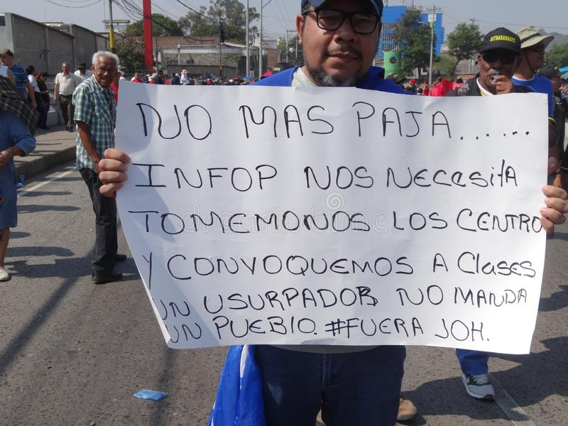Praca dnia marsz protestacyjny Tegucigalpa Honduras Maj 2019 20 fotografia stock