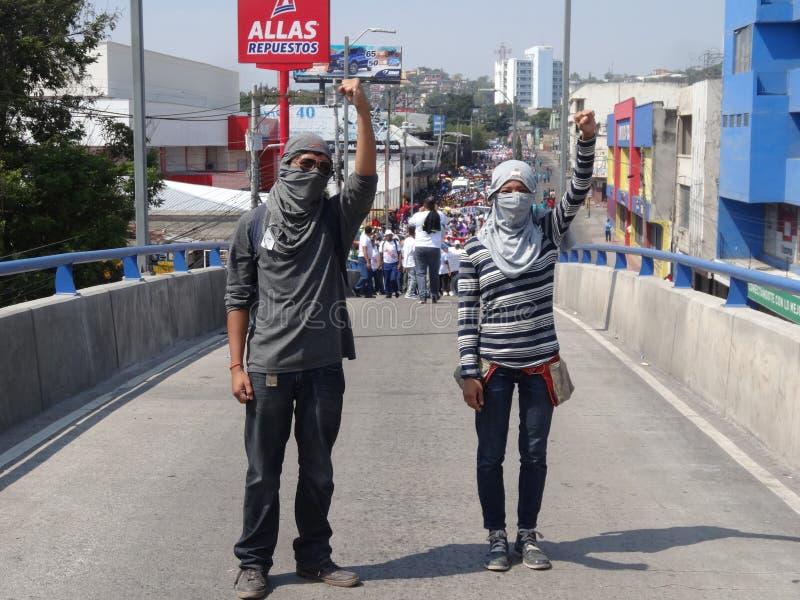 Praca dnia marsz protestacyjny Tegucigalpa Honduras Maj 2019 18 fotografia stock