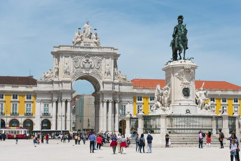 Praca do Comercio & x28;Commerce Square& x29; in Lisbon royalty free stock images