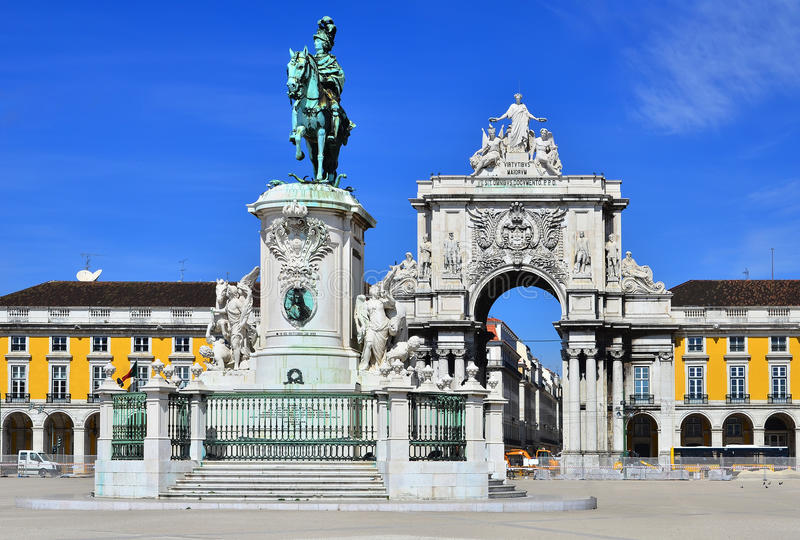Praca do Comercio, Lisbon, Portugal. Praca do Comercio (Commerce Square) is located near Tagus River in Lisbon, Portugal. In the center is statue of King Jose I royalty free stock photos