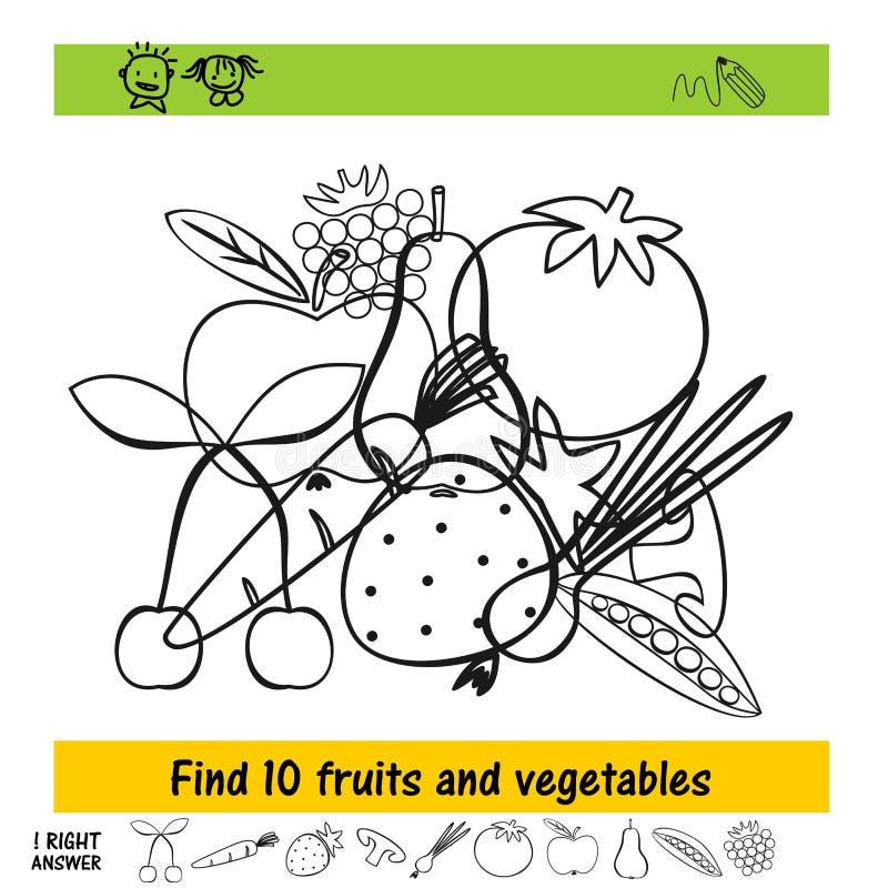 Praca domowa dla dzieciaków dlaczego znajdować dziesięć różnych owoc i warzywo ilustracji