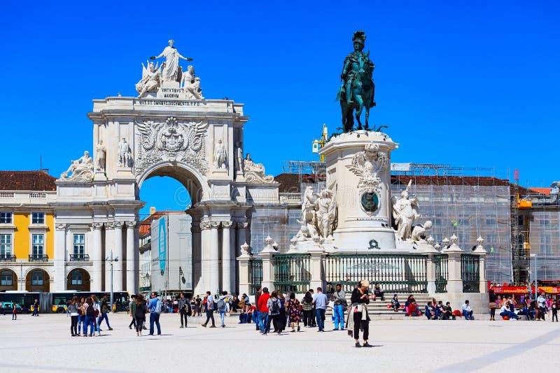Praca font Comercio à Lisbonne, Portugal images libres de droits