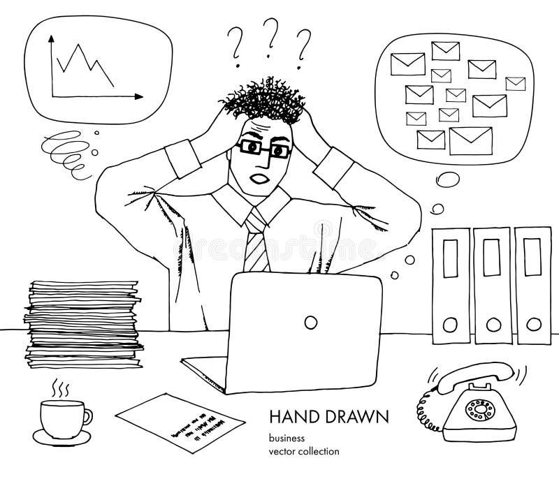 Praca kryzys Biznesmen trzyma jego głowę patrzeje monitoru włosy stojak na końcówce Mnóstwo inbox poczty, zły rozkład ilustracja wektor