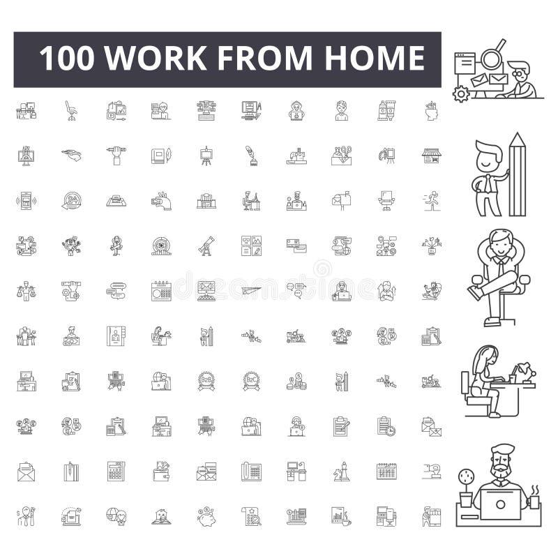 Praca od dom linii ikon, znaki, wektoru set, kontur ilustracji poj?cie obrazy stock