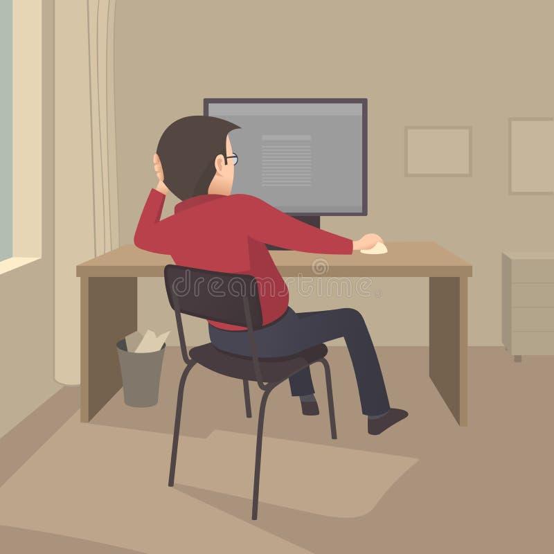 Praca przy komputerem ilustracja wektor