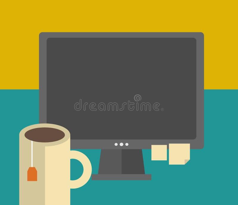 Download Praca Stół Z Komputerową I Herbacianą Filiżanką Ilustracji - Ilustracja złożonej z naczynia, praca: 53782675