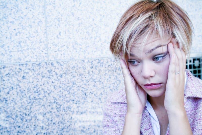 Praca stresu migreny kobieta fotografia royalty free