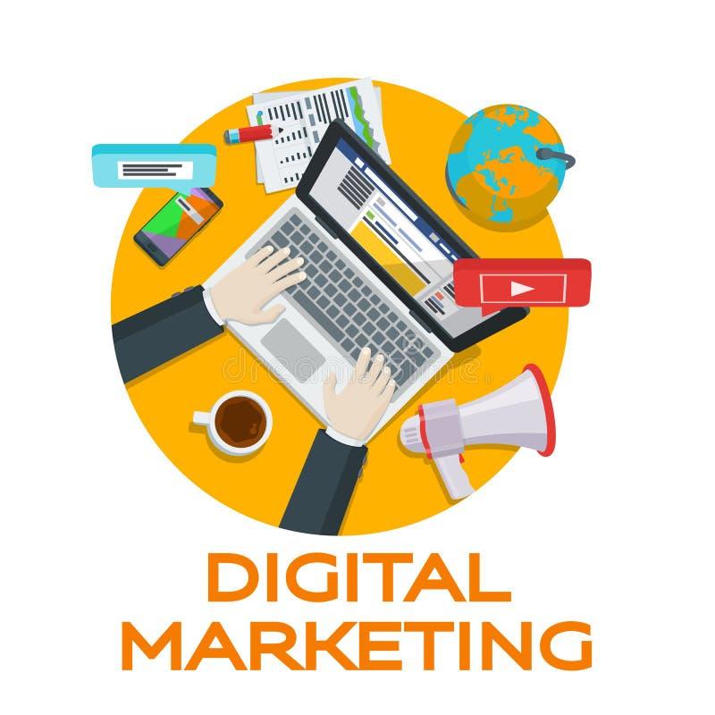 Praca w ogólnospołecznych sieciach Sieci analityka elementy Cyfrowego marketing wokoło obłocznego konceptualnego parowozowego wiz ilustracja wektor