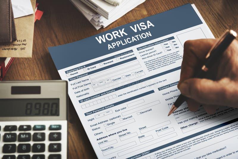 Praca wniosku wizowego prawa Legalny pojęcie obraz stock