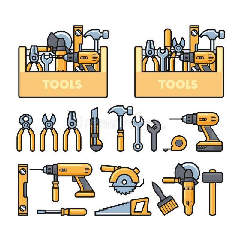 Praca wytłacza wzory ikony, zobaczył i budowy narzędzi zestaw - toolbox, puncher, świder, wyrwanie, samolot, royalty ilustracja