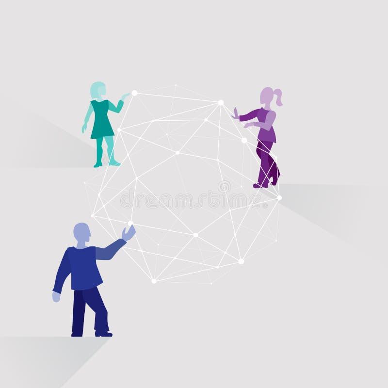 Praca zespołowa Drużyna różni ludzie pracuje wpólnie rozwijać rozwiązanie Schematyczni kreskówek ludzie, sieć i ilustracji