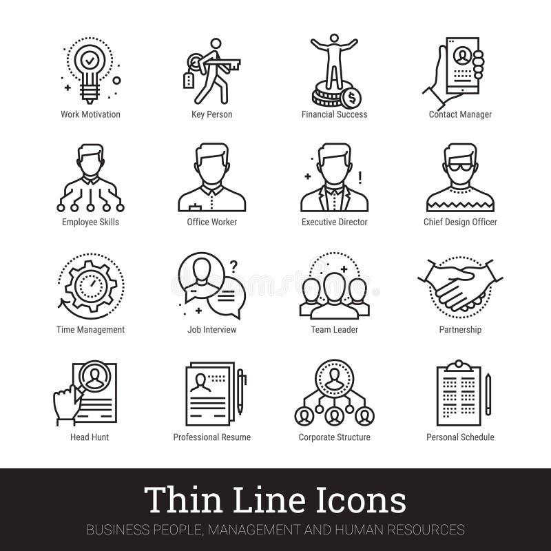 Praca zespołowa, zarządzanie, ludzie biznesu wektor ikon ilustracji