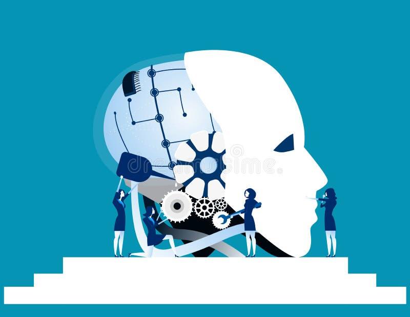 Praca zespołowa Biznes drużyny naprawy robota technologia Pojęcie biznes ilustracji