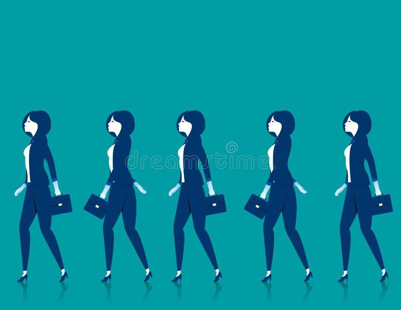 Praca zespołowa Bizneswomanu spacer royalty ilustracja