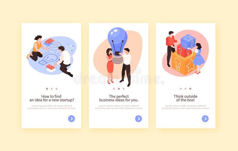 Praca zespołowa Brainstorming Pionowo sztandary ilustracja wektor