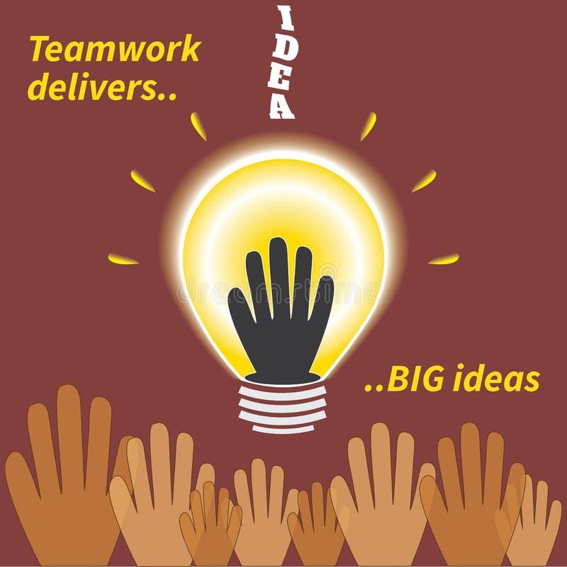 Praca zespołowa dostarcza dużych pomysły ilustracji
