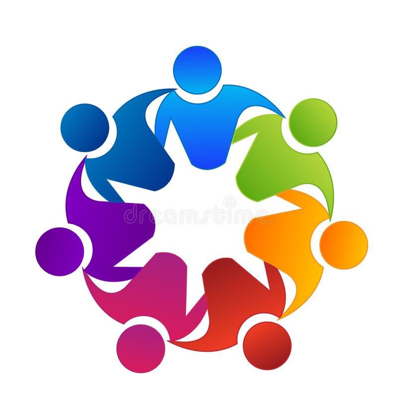 Praca zespołowa grupowy budynek i jedność, wektorowy logo ilustracji