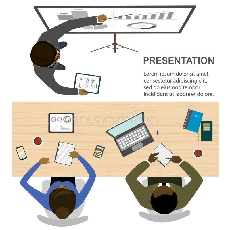 Praca zespołowa i brainstorming, rozwój biznesu, odgórny widok royalty ilustracja