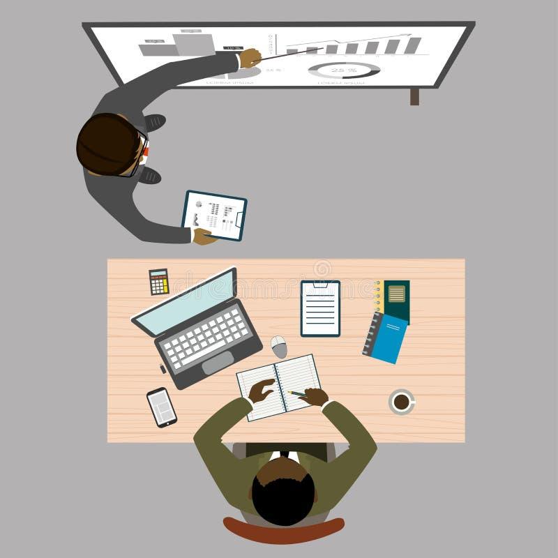 Praca zespołowa i brainstorming, rozwój biznesu, odgórny widok ilustracji
