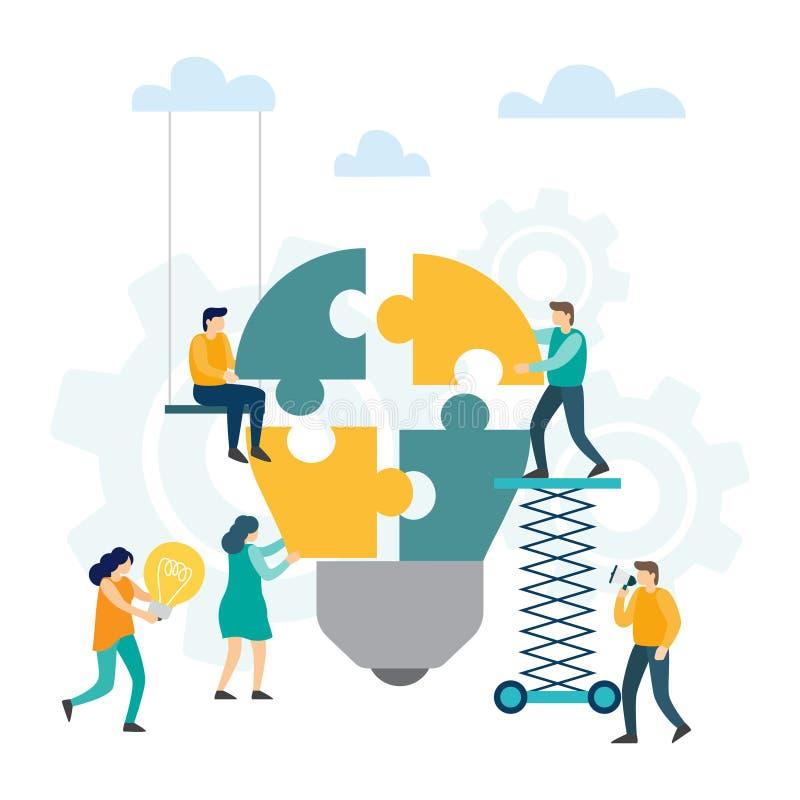 Praca zespołowa i współpraca Brainstorm i kreatywnie pomysłu pojęcie szuka dla nowych rozwiązań, ilustracji