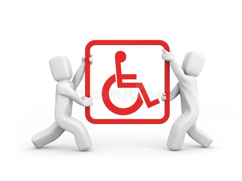 praca zespołowa inwalidów pomocy royalty ilustracja