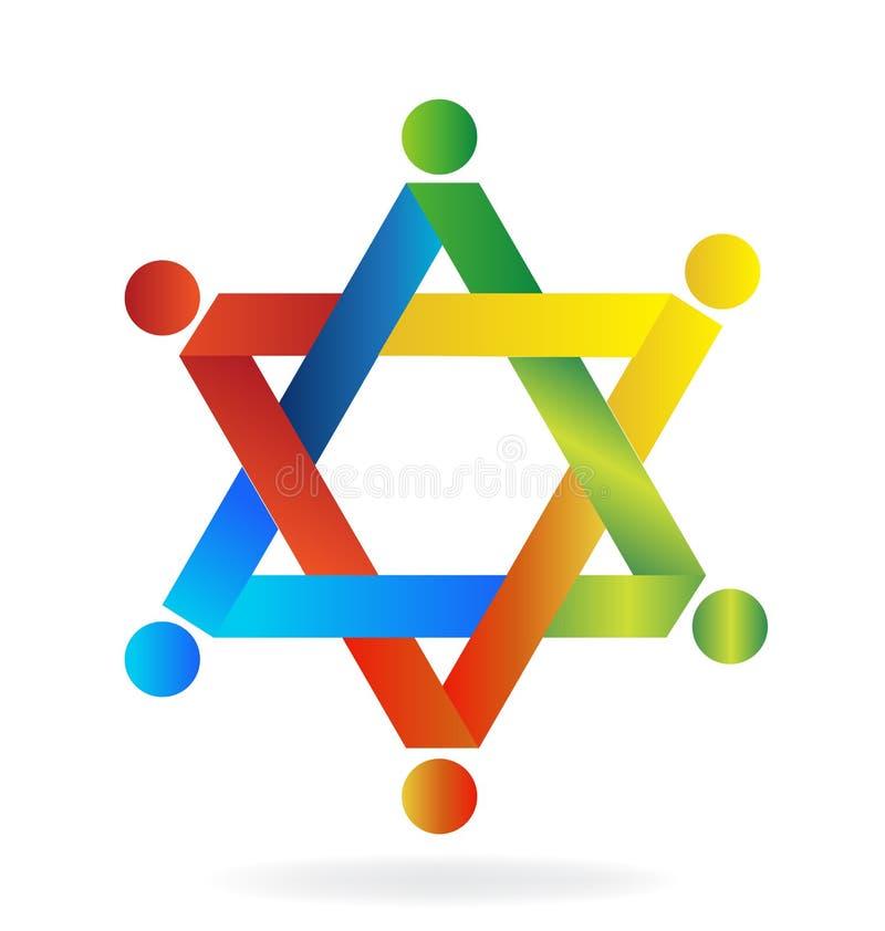Praca zespołowa kształta kolorowy gwiazdowy logo royalty ilustracja