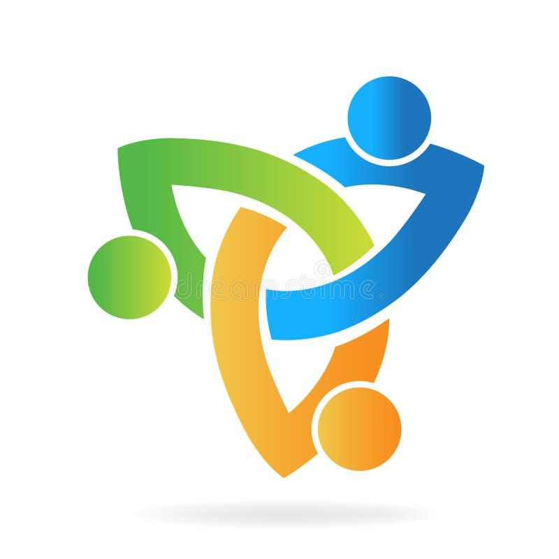 Praca zespołowa loga pojęcia jedności wizytówka ludzie ilustracja wektor