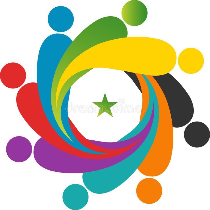 Praca zespołowa logo ilustracja wektor