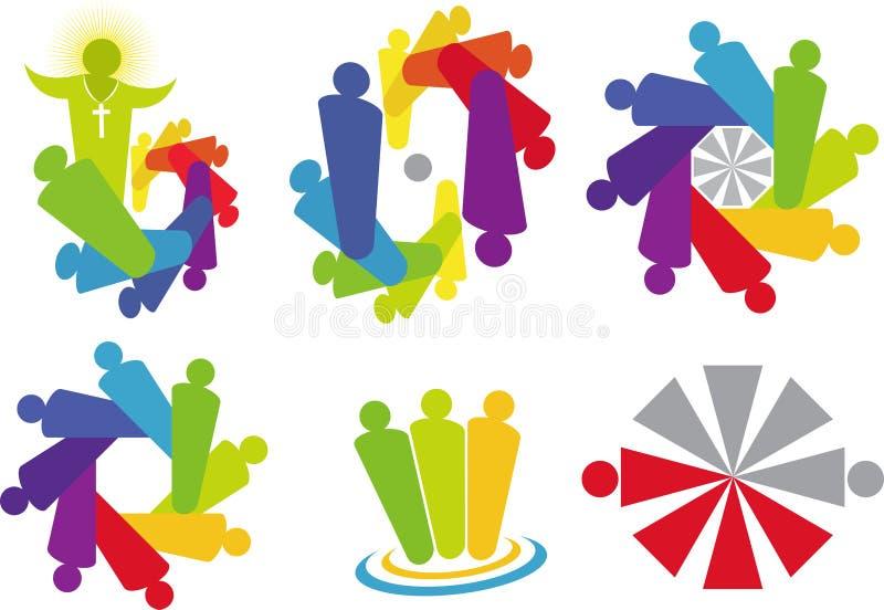 Praca zespołowa logo ilustracji