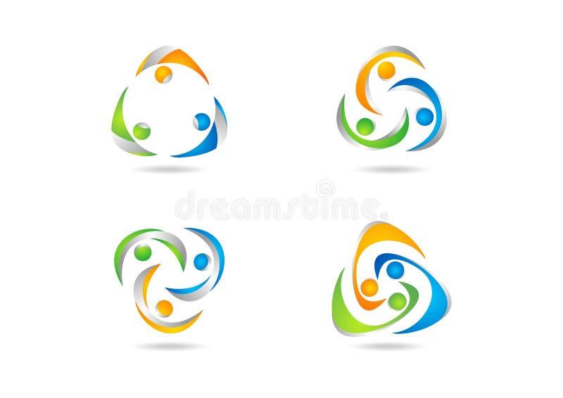 Praca zespołowa, logo, socjalny, edukacja, drużyna, ilustracja, nowożytna, sieć, praca logotypu ustalony wektorowy projekt ilustracja wektor