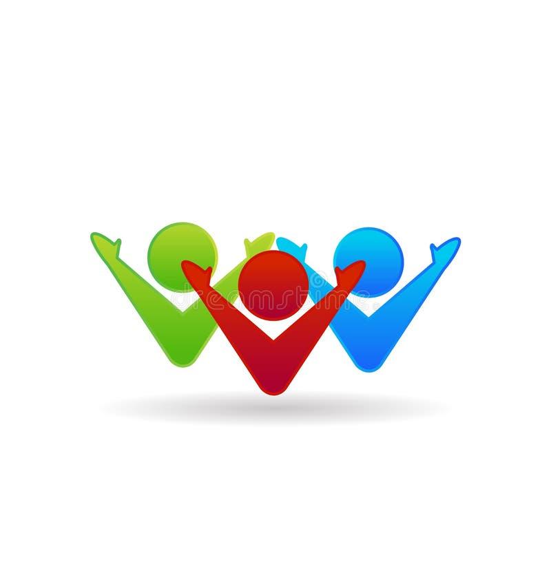 Praca zespołowa 3 ludzie, grupowy dynamiczny, biznesowy wektorowy logo, ilustracja wektor