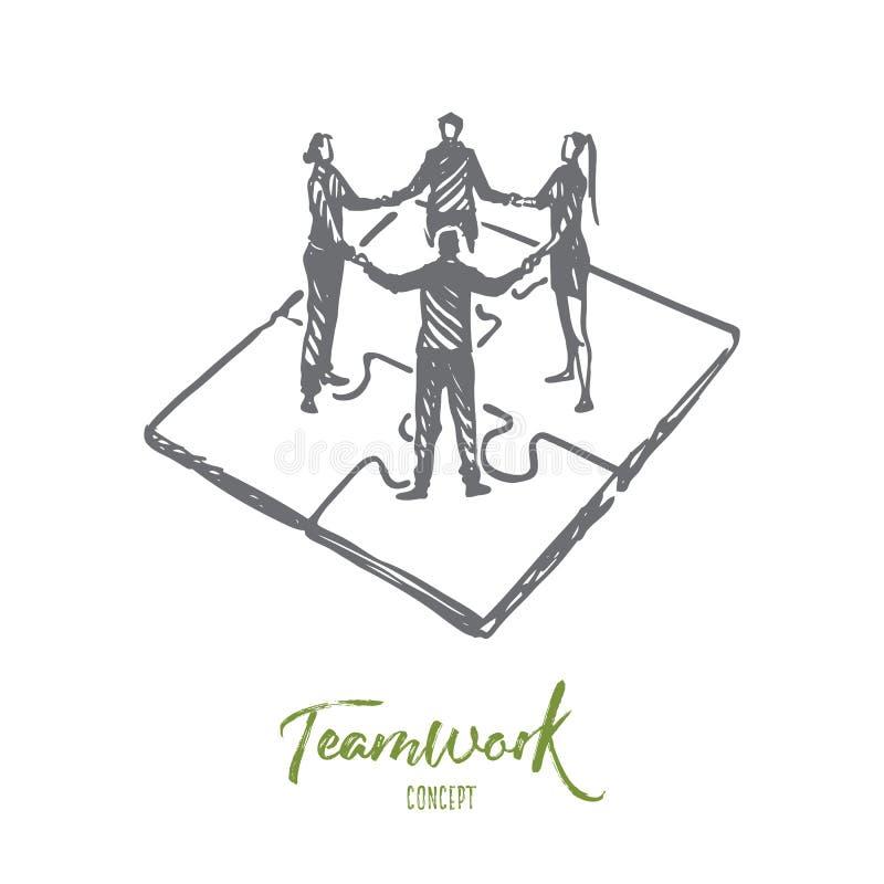 Praca zespołowa, marketing, strategia, biznes, komunikacyjny pojęcie Ręka rysujący odosobniony wektor ilustracji