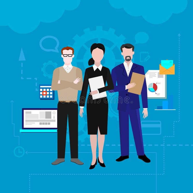 Praca zespołowa sztandary ustawiający z rozwojem biznesu i sukcesów elementów wektoru ilustracją ilustracji