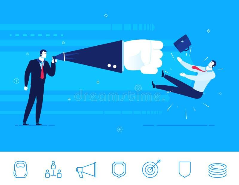 Praca zespołowa wektorowa ilustracja Biznesmena nokaut ilustracji