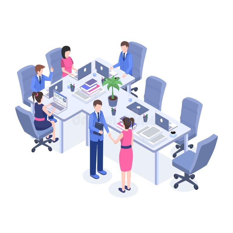 Praca zespołowa wektorowego koloru isometric ilustracja Urzędnicy, szef i pracownicy przy miejsce pracy 3d postaciami z kreskówki royalty ilustracja