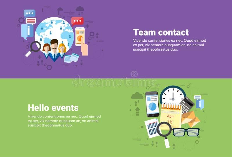 Praca zespołowa współpraca, Kalendarzowych wydarzeń sieci Biznesowy sztandar ilustracji