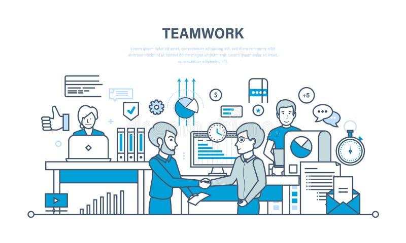 Praca zespołowa, występu cenienie, analiza rezultaty, planowanie, kontrola, biurowy miejsce pracy royalty ilustracja