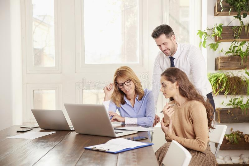 Praca zespo?owa w biurze Grupa ludzie biznesu pracuje wp?lnie na laptopie w biurze fotografia royalty free