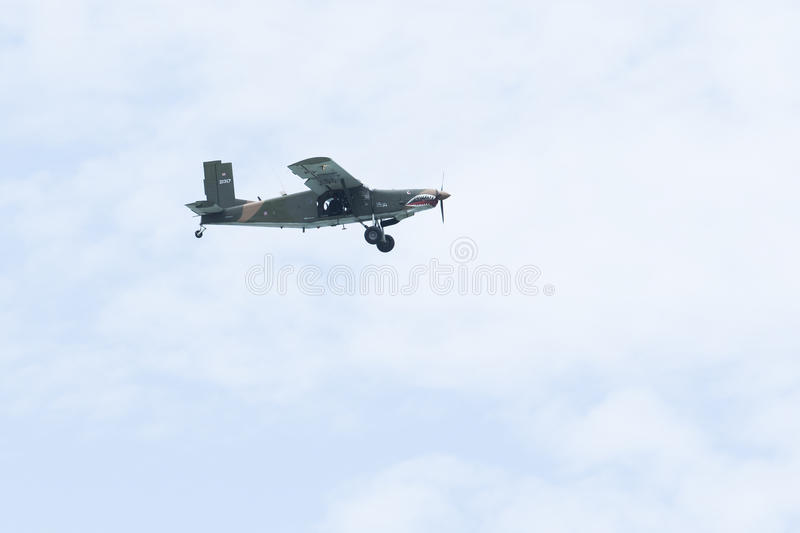 PRACHAP KHIRI KHAN THAILAND - MARCH 29 : old warior plane practice for new airforce pilot in prachauap harbor airforce base on m royalty free stock photography