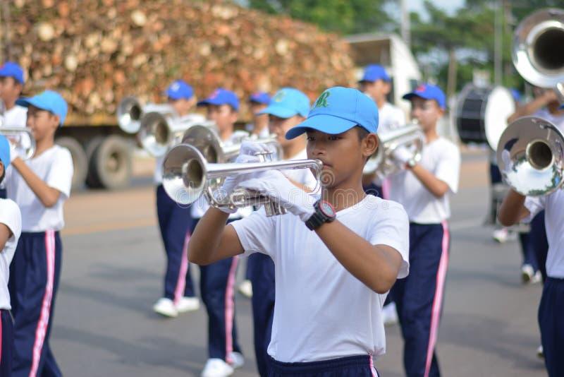 Prachinburi,泰国, 2018年6月15日-反对药物天游行的世界 库存图片