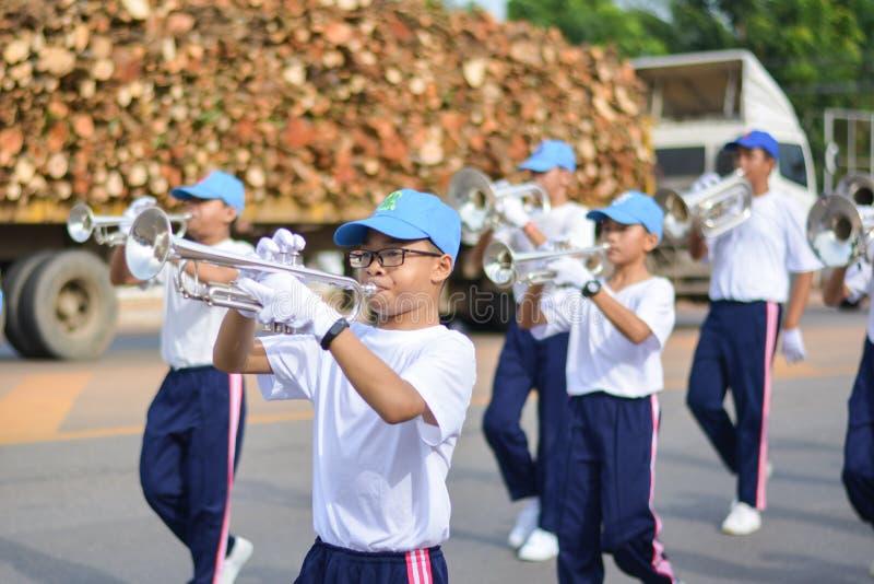 Prachinburi, Tailandia, el 15 de junio de 2018 - mundo contra desfile del día de la droga fotografía de archivo