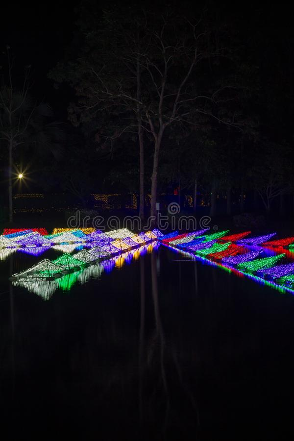 Prachinburi,Thailand-January11,2018:LED Light up in the pond at Dasada Gallery. Dasada Gallery plays host to the Giving Blossom Festival from Dec2,2017 until stock photo